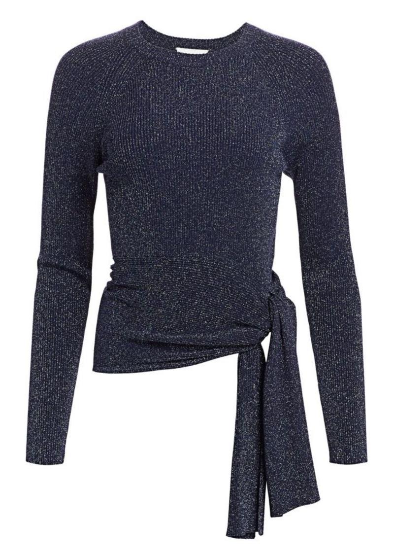 3.1 Phillip Lim Lurex Rib-Knit Side-Tie Sweater
