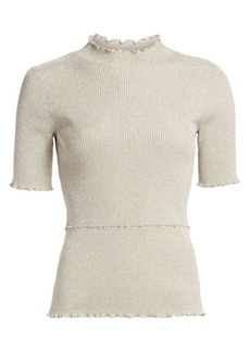 3.1 Phillip Lim Lurex Short-Sleeve Sweater