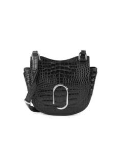 3.1 Phillip Lim Mini Alix Croc-Embossed Leather Saddle Bag