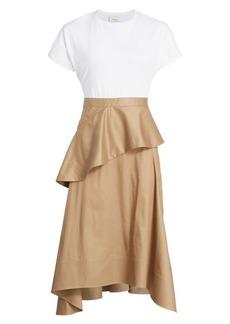 3.1 Phillip Lim Mixed-Media T-Shirt Ruffle Dress