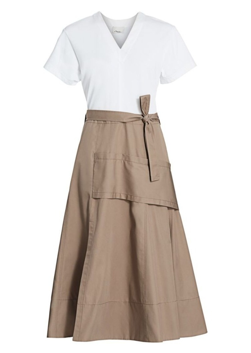 3.1 Phillip Lim Mixed Media Utility Midi Dress