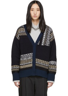 3.1 Phillip Lim Navy Merino Series Fairisle Patchwork Holiday Cardigan