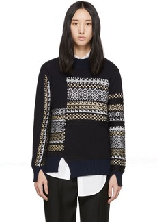 3.1 Phillip Lim Navy Merino Series Patchwork Holiday Sweater