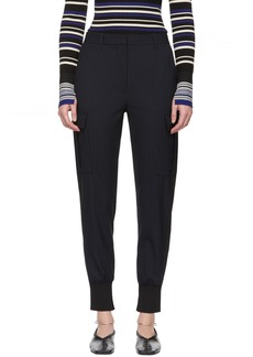 3.1 Phillip Lim Navy Pinstripe Cargo Jogger Trousers