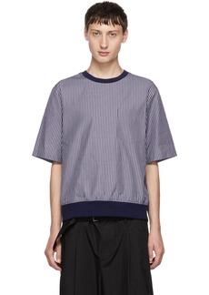 3.1 Phillip Lim Navy Poplin Striped T-Shirt