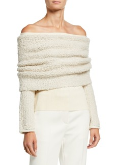 3.1 Phillip Lim Off-Shoulder Boucle Pullover