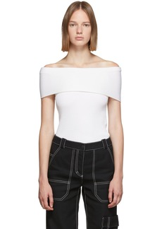 3.1 Phillip Lim Off-White Merino Series Ribbed Off Shoulder Sweater