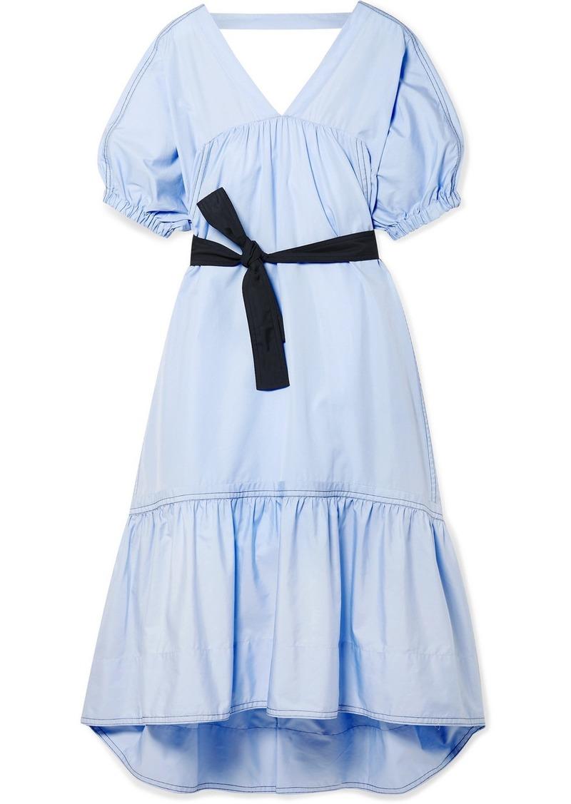 3.1 Phillip Lim Open-back Belted Cotton-poplin Midi Dress