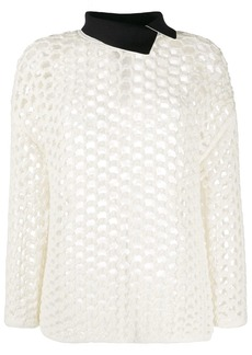 3.1 Phillip Lim open-knit contrasting collar jumper