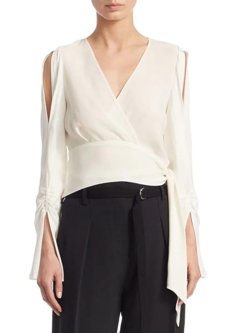 3.1 Phillip Lim Open-Sleeve Silk Blouse