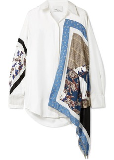 3.1 Phillip Lim Oversized Satin And Crepe-trimmed Printed Silk-twill Shirt
