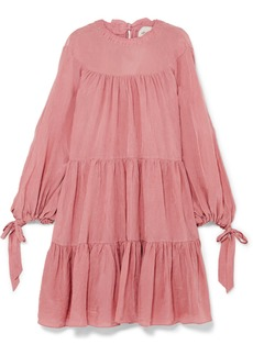 3.1 Phillip Lim Oversized Tiered Crinkled Matte-satin Mini Dress