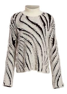 3.1 Phillip Lim Oversized Zebra Fringe Turtleneck Sweater
