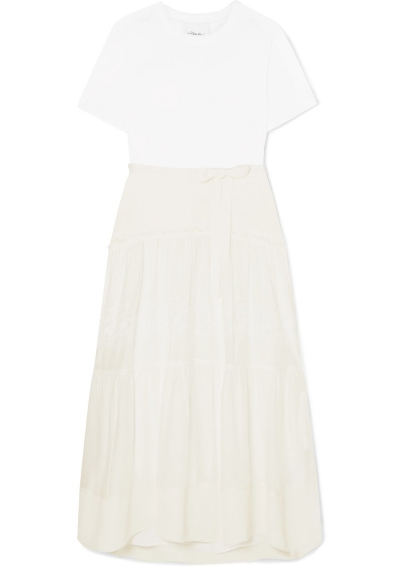 3.1 Phillip Lim Paneled Belted Silk, Cotton And Lace Midi Dress