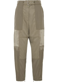 3.1 Phillip Lim Paneled silk-satin, washed-silk and twill tapered pants