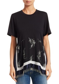 3.1 Phillip Lim Beaded Fringe Patchwork T-Shirt