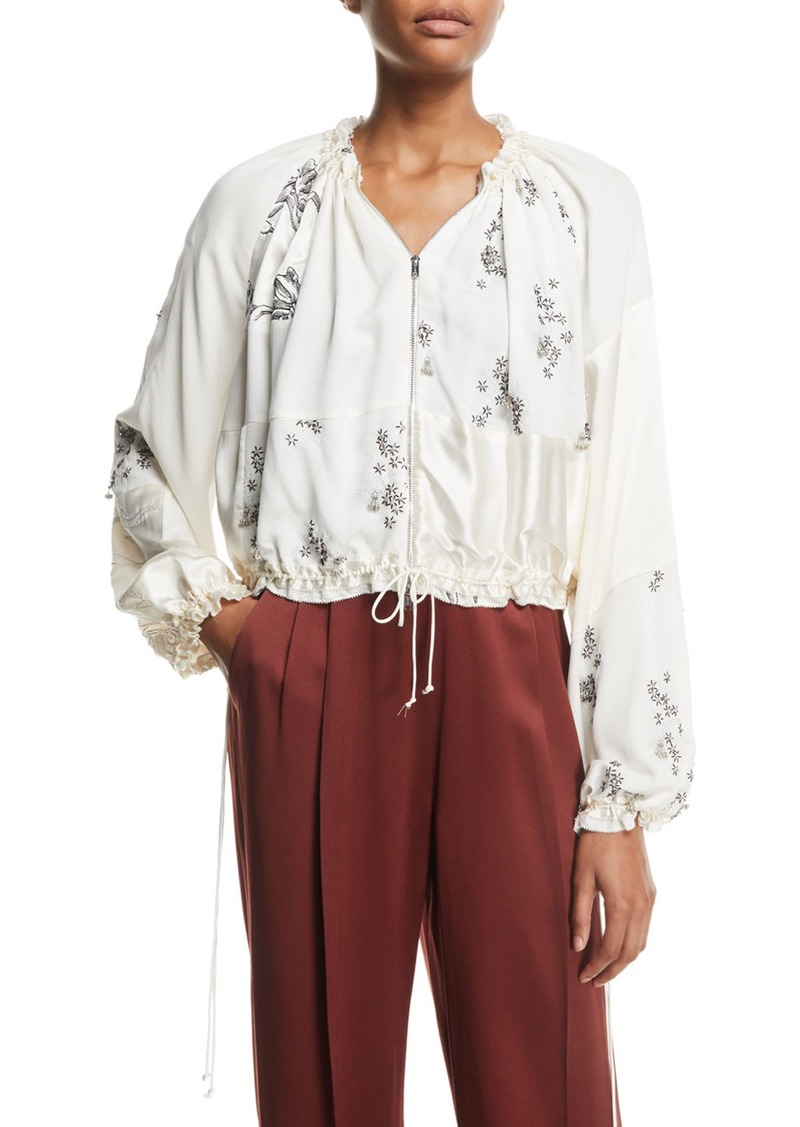 3.1 Phillip Lim Patchwork Floral Embellished Silk Bomber Jacket