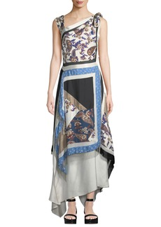 3.1 Phillip Lim Patchwork Handerkerchief Printed Silk Maxi Dress