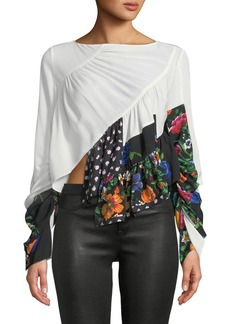 3.1 Phillip Lim Patchwork Ruffle Silk Handkerchief Blouse
