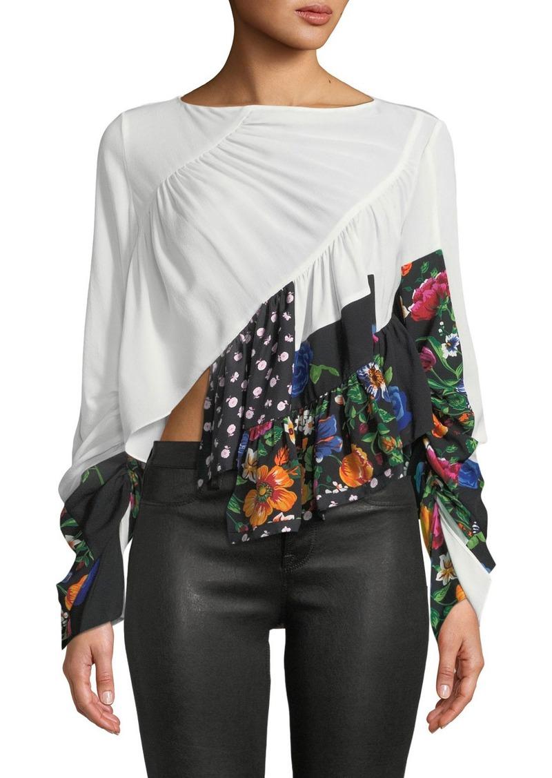 db1d2133b8b97 3.1 Phillip Lim Patchwork Ruffle Silk Handkerchief Blouse Now  269.00