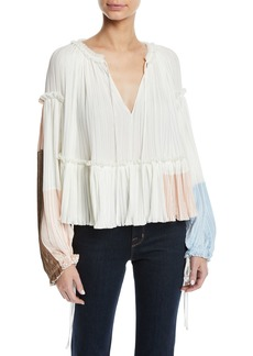 3.1 Phillip Lim Pleated Colorblock Long-Sleeve Ruffle Top