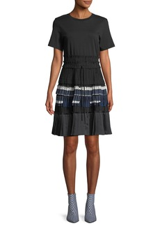 3.1 Phillip Lim Pleated Crewneck Tee Dress