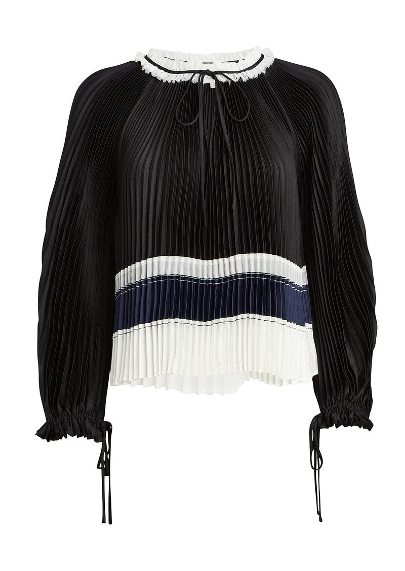 3.1 Phillip Lim Pleated Satin Tie Neck Blouse