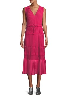 3.1 Phillip Lim Pleated V-Neck Tiered Midi Dress
