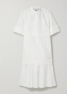 3.1 Phillip Lim Pleated Voile-trimmed Cotton-blend Poplin Dress
