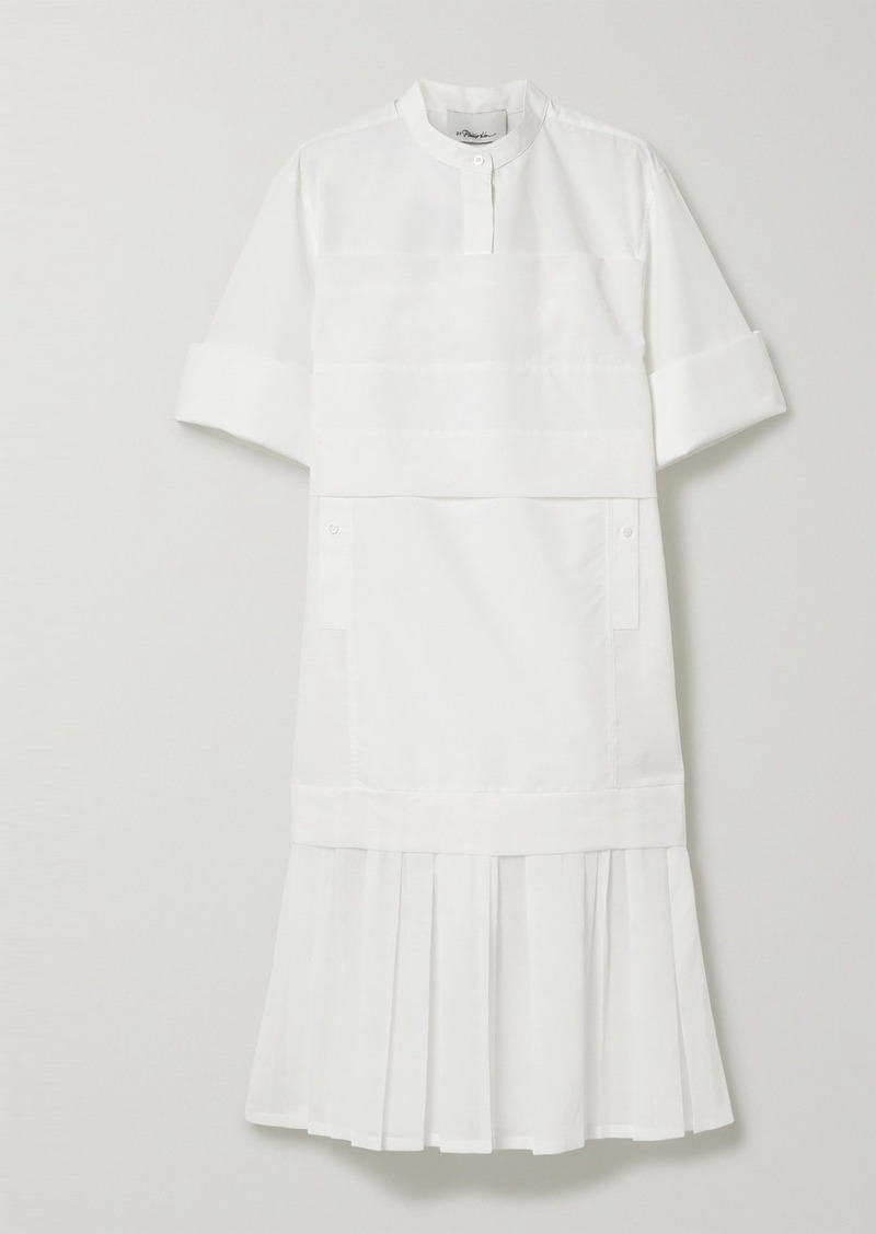 3.1 Phillip Lim Pleated Voile-trimmed Cotton-blend Poplin Dress