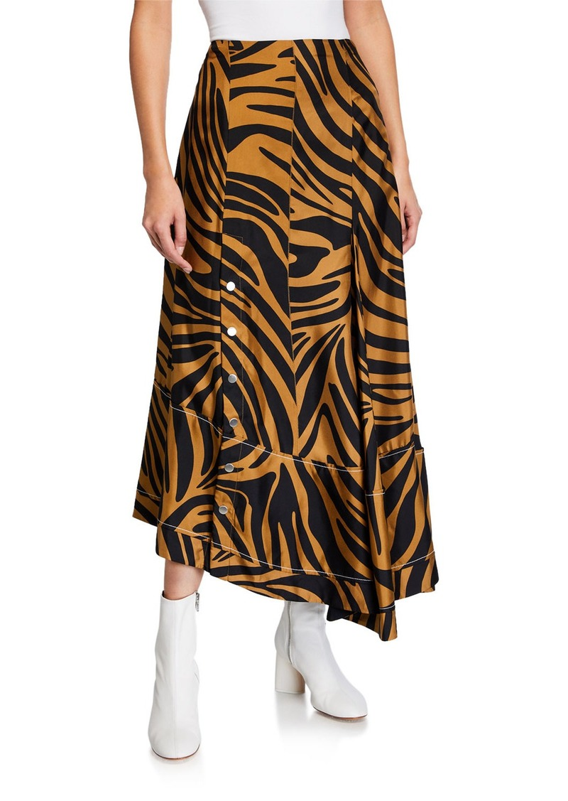 3.1 Phillip Lim Pleated Zebra-Print Midi Skirt with Snaps