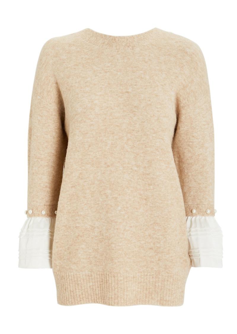 3.1 Phillip Lim Poplin Pearl Cuff Sweater