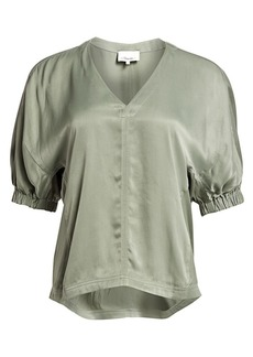 3.1 Phillip Lim Puff-Sleeve Satin Top