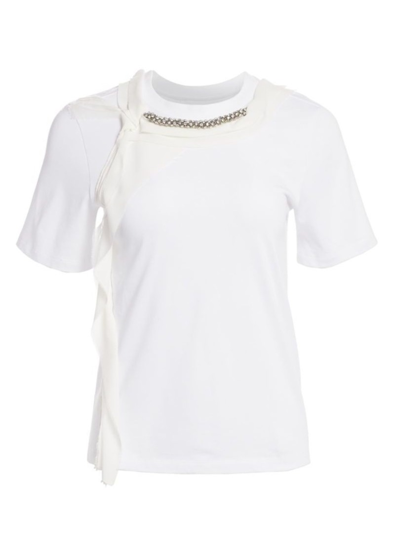 3.1 Phillip Lim Rhinestone-Embellished Cording Cotton T-Shirt