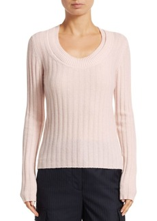 3.1 Phillip Lim Double Scoopneck Rib-Knit Cashmere Sweater