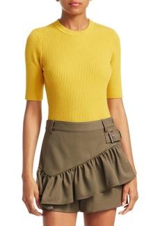 3.1 Phillip Lim Rib-Knit Short-Sleeve Sweater