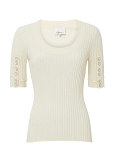 3.1 Phillip Lim Ribbed Button Sleeve Top