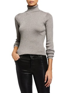 3.1 Phillip Lim Ribbed Metallic Turtleneck Pullover Sweater
