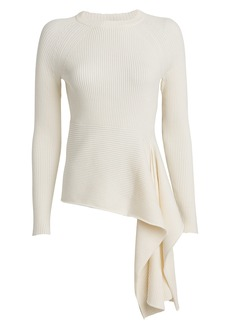 3.1 Phillip Lim Ribbed Tie Waist Crewneck Sweater
