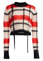 3.1 Phillip Lim Ribbon Trim Striped Crewneck Sweater