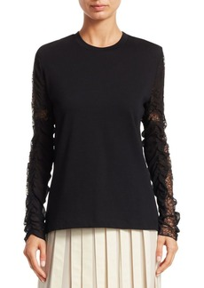 3.1 Phillip Lim Ruched Lace Sleeve Cotton T-Shirt