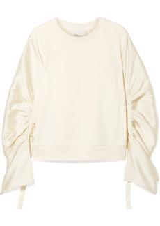 3.1 Phillip Lim Ruched Grosgrain-trimmed Satin-twill And Cotton-jersey Sweatshirt