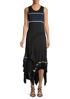 3.1 Phillip Lim Ruffle Hem Striped Midi Dress