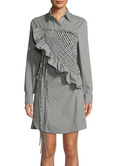 3.1 Phillip Lim Ruffled Long-Sleeve Gingham Shirtdress