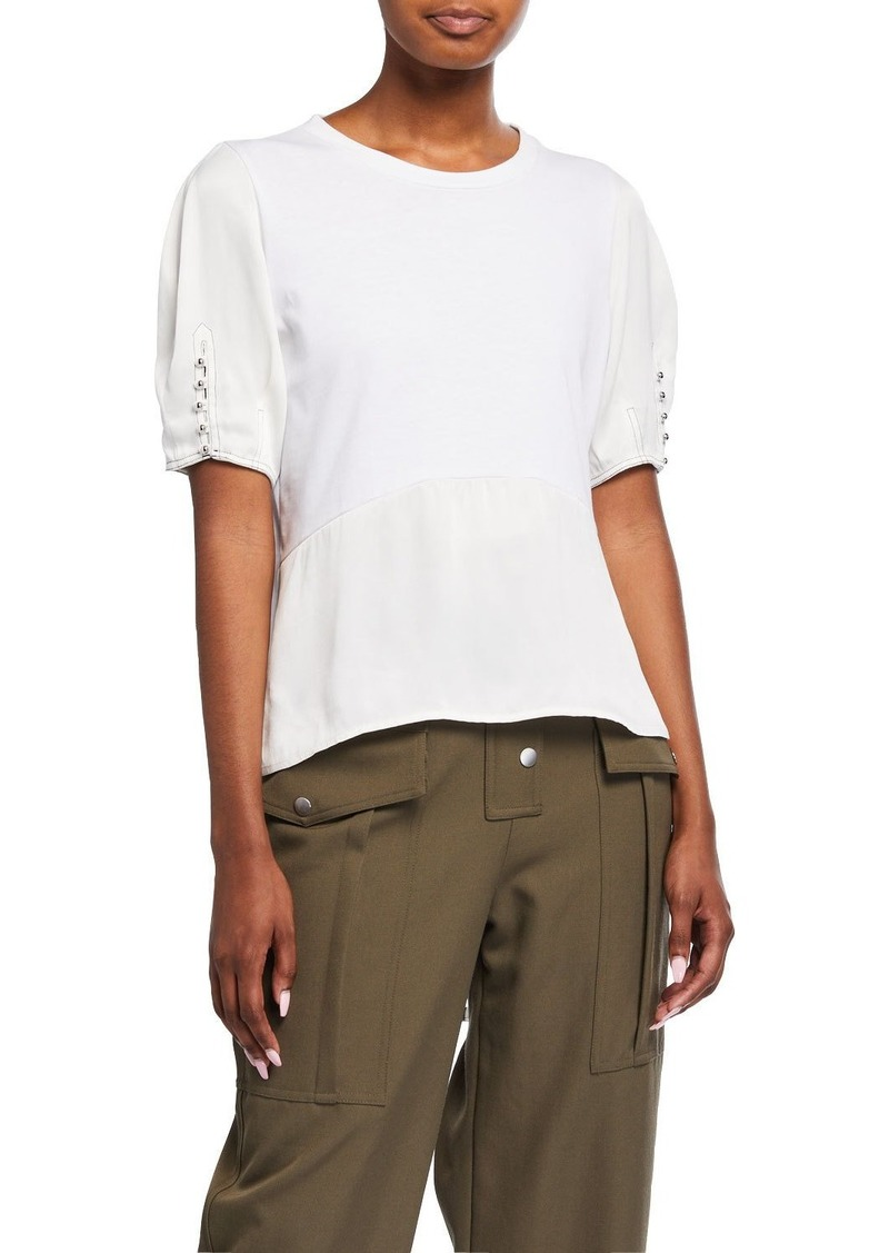 3.1 Phillip Lim Satin Combo Puff-Sleeve Shirt