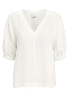 3.1 Phillip Lim Satin Puff Sleeve Top