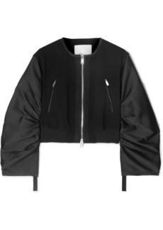 3.1 Phillip Lim Shirred Cropped Crepe And Taffeta Bomber Jacket