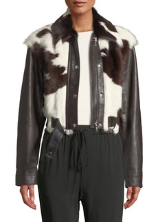 3.1 Phillip Lim Short Calf Hair Leather Jacket