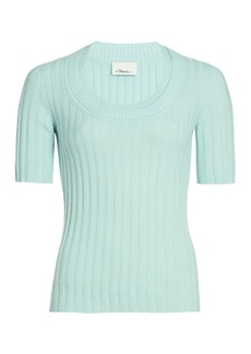 3.1 Phillip Lim Short-Sleeve Cashmere-Blend Rib-Knit Top