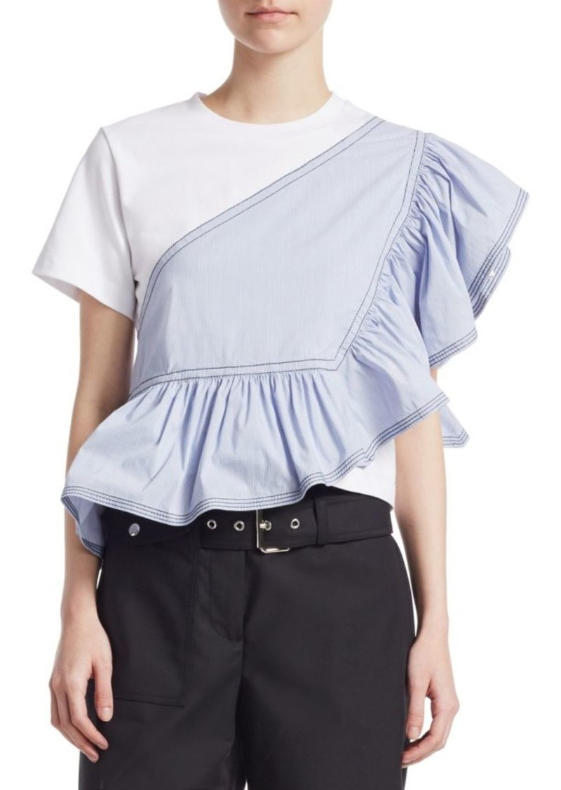 3.1 Phillip Lim Short-Sleeve Ruffled Peplum Top